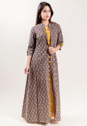 Paisley Printed Cotton Long Dress in Mustard and faen