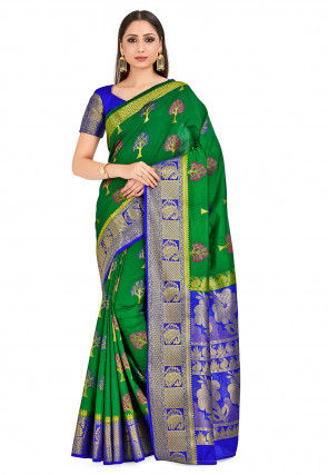 Paithani Saree in Dark Green