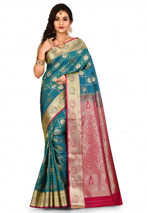 Paithani Saree in Teal Blue