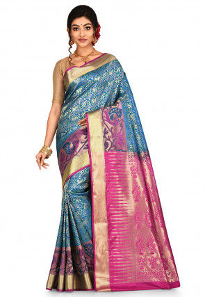 Paithani Saree in Teal Green and Blue