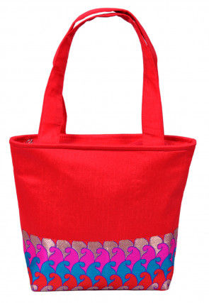 Patch Border Art Silk Hand Bag in Red