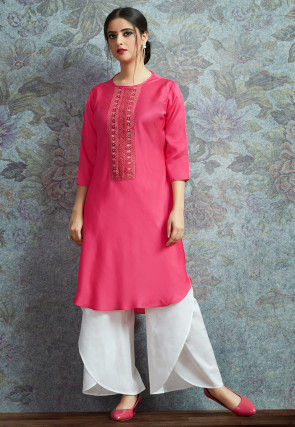Patch Border Cotton Satin Straight Kurta Set in Fuchsia