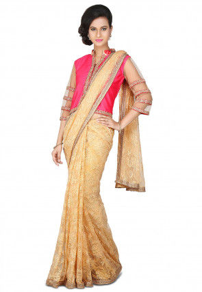 Patch Border Net Saree in Beige