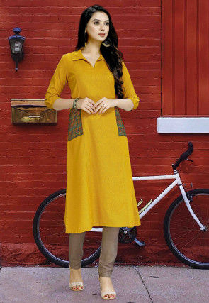 Patch Pocket Cotton Straight Kurta in Mustard