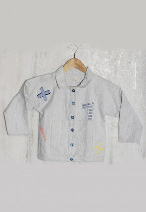 Patch Work Cotton Kids Shirt in Off White