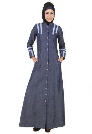 Patch Work Denim Cotton Front Open Abaya in Dark Grey