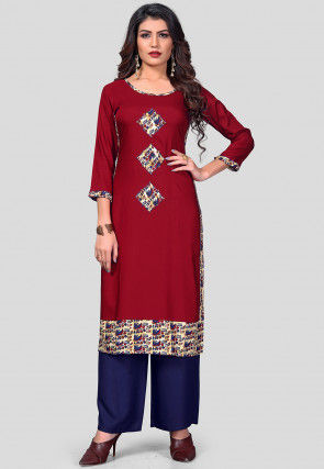 Patch Work Rayon Straight Kurta Set in Maroon