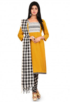 Patch Work South Cotton Straight Suit in Mustard