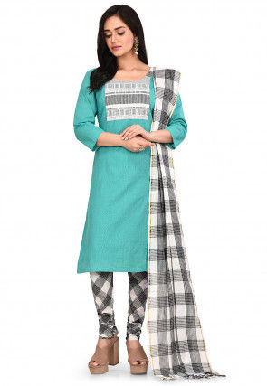 Patch Work South Cotton Straight Suit in Turquoise