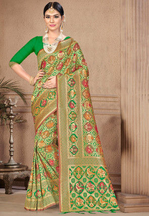 Patola Art Silk Saree in Green