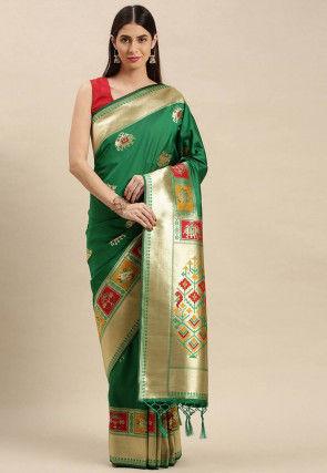 Patola Art Silk Saree in Green