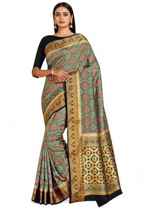 Patola Art Silk Saree in Grey