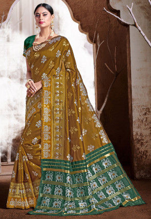 Patola Art Silk Saree in Old Gold