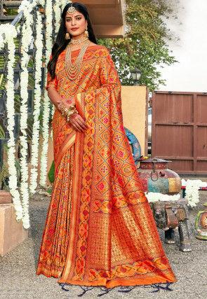 Patola Art Silk Saree in Orange