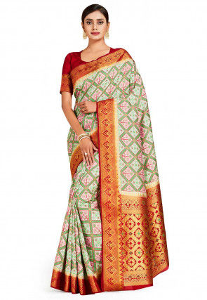 Patola Art Silk Saree in Pink and Sea Green