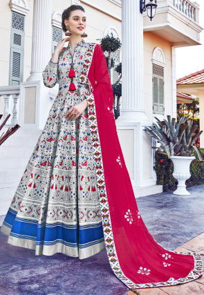 Patola Printed Art Silk Abaya Style Suit in Off White