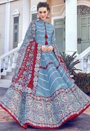 Patola Printed Art Silk Abaya Style Suit in Pastel Blue