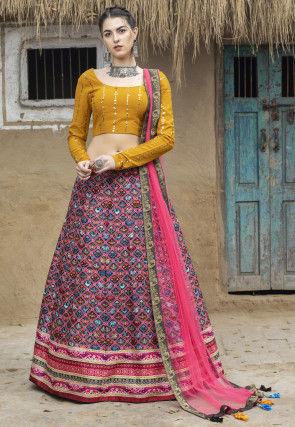 Patola Printed Art Silk Lehenga in Pink