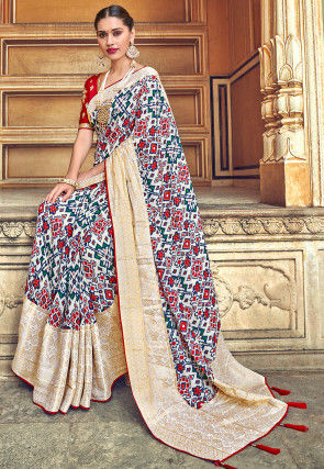 Patola Printed Art Silk Saree in Off White and Multicolor