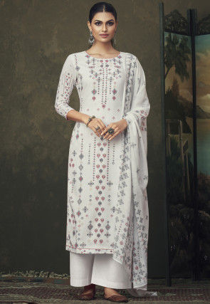 Patola Printed Cotton Pakistani Suit in Off White