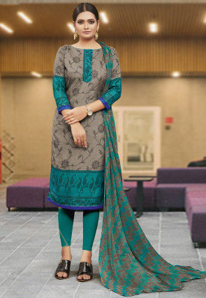 Patola Printed Cotton Straight Suit in Grey and Teal Green