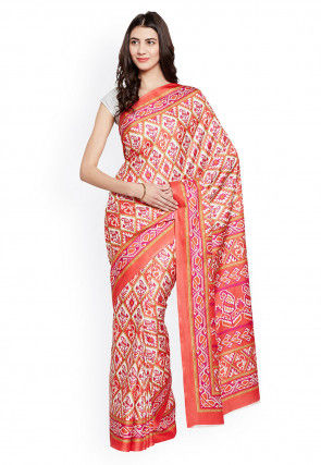 Patola Printed Crepe Saree in Dark Peach and Off White