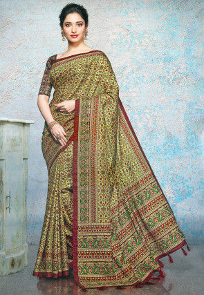 Patola Printed Linen Silk Saree in Beige and Multicolor