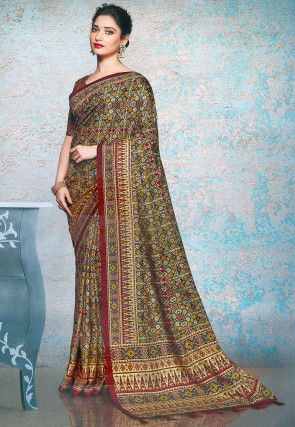 Patola Printed Linen Silk Saree in Dark Green and Multicolor