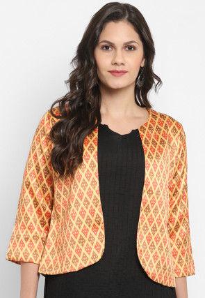 Patola Printed Polyester Viscose Jacket in Light Yellow