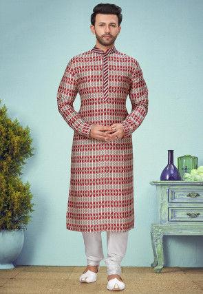 Patola Printed Rayon Kurta Set in Grey and Red