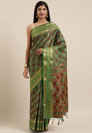 Patola Saree in Dark Green
