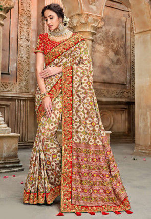 Patola Silk Saree in Beige