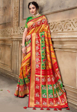 Patola Silk Saree in Mustard