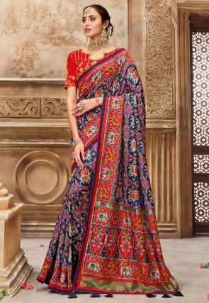 Patola Silk Saree in Navy Blue
