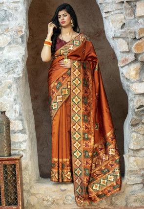 Patola Silk Saree in Rust