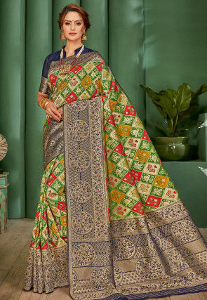 Patola Woven Art Silk Saree in Multicolor and Navy Blue