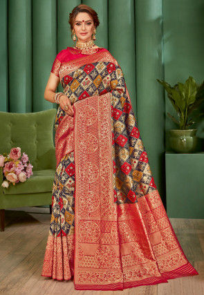 Patola Woven Art Silk Saree in Multicolor and Red