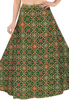 Patola Woven Cotton Skirt in Green