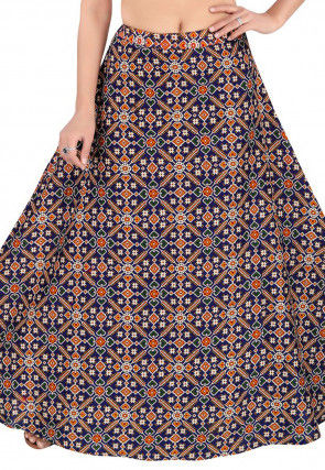 Patola Woven Cotton Skirt in Navy Blue