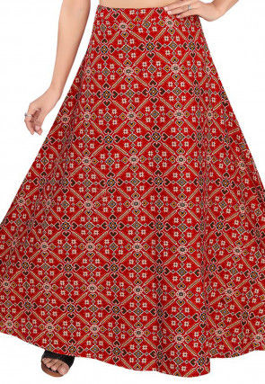 Patola Woven Cotton Skirt in Red