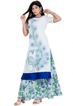 Peacock Hand Painted Chanderi SIlk Kurta with Skirt in Green