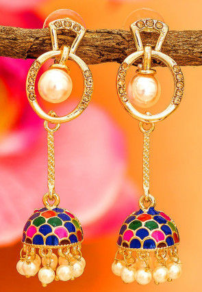 Pearl Enamel Filled Jhumka Style Earrings