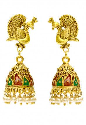 Pearl Peacock Style Enamelled Jhumka Style Earrings