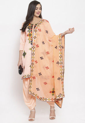 Phulkari Chanderi Silk Punjabi Suit in Light Peach