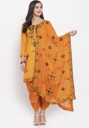 Phulkari Chanderi Silk Punjabi Suit in Mustard