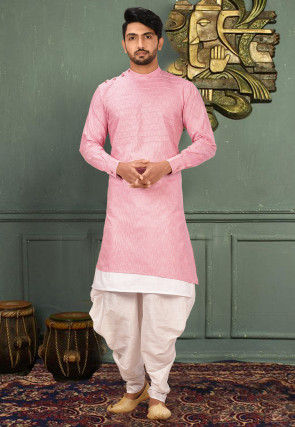 Pintucked Cotton Dhoti Kurta in Light Pink