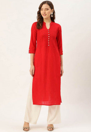 Pintucked Cotton Kurta with Pant in Red