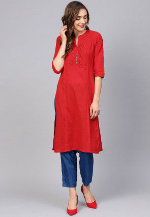 Pintucked Cotton Slub Kurta in Red