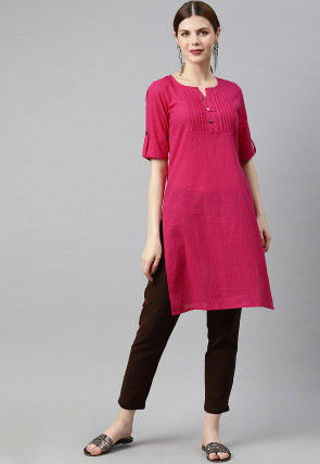 Pintucked Cotton Slub Kurti in Pink