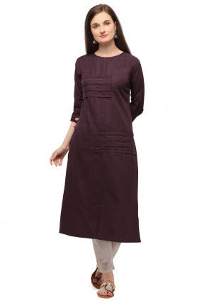 Pintucked Cotton Straight Kurta in Dark Wine